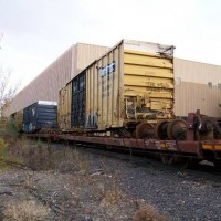 Wreck Boxcar on Flatcar