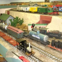 Our indoor g-scale, bottom deck has a yard attached to the inner loop, also note the live steam Ruby on the outerloop.