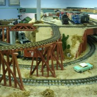 Our indoor g-scale, note the cross over and curving trestle over the bottom loop.