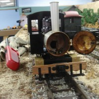 0-4-0 live steam Accucraft Ruby #1 with smoke-box door open.