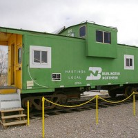 BN Caboose Converted to Ice Cream Stand