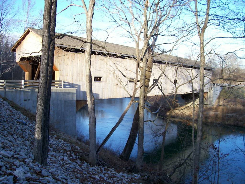 Covered bridge across the Embarras river